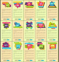 Prices reduction up to 90 internet pages set vector