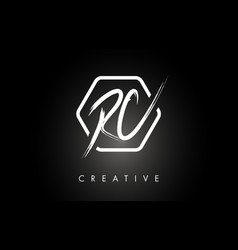 Rc r c brushed letter logo design with creative vector