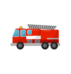red fire truck side view on a vector image