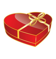 Red heart shaped gift box vector image