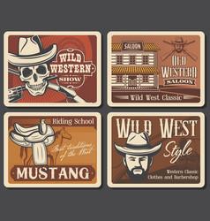retro posters wild west american western saloon vector image