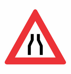 Road narrows on both sides sign vector