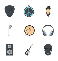 rock equipment icon set flat style vector image