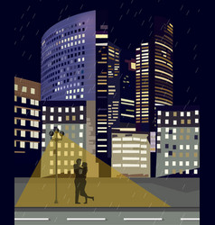 romantic couple at night city business center vector image
