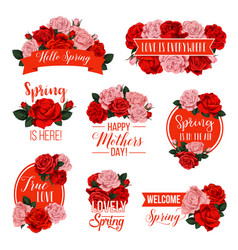 rose flower badge for mother day spring holiday vector image