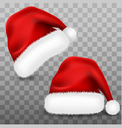 Santa claus set hat with fur isolated on vector