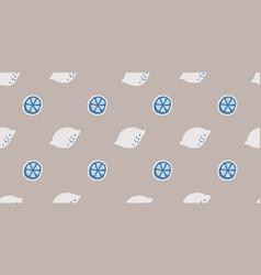 Seamless neutral lemon slice pattern vector