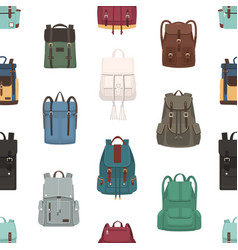 seamless pattern with backpacks or rucksacks of vector image