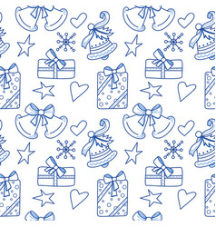 seamless pattern with bell gift vector image