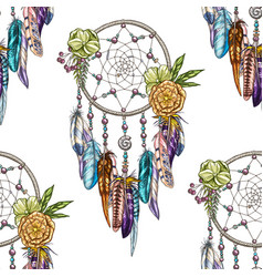 Seamless pattern with dream catcher isolated on vector