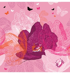 Seamless Pink Floral Background with Butterflies vector