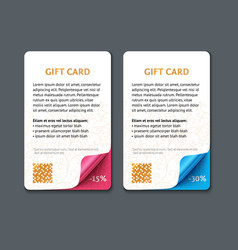 set gift cards with rolled corners vector image