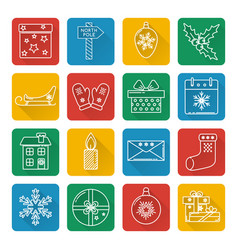 Set of christmas icons in thin line style vector