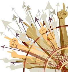Set of colorful target arrows and hands pointing vector image
