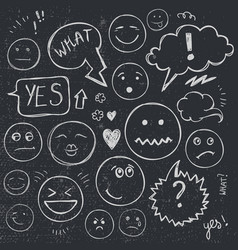 set of hand drawn doodle faces emotions vector image
