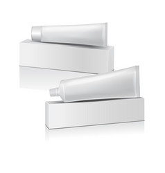Set of plastic tube with white box for vector