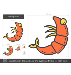Shrimp line icon vector