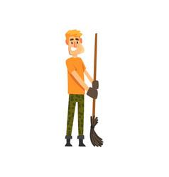 smiling male farmer character cheerful gardener vector image