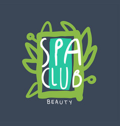 spa beauty club logo badge for wellness yoga vector image
