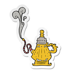 sticker of a cartoon smoking hookah vector image