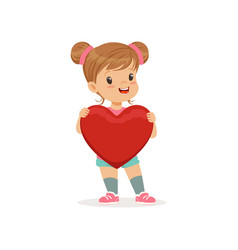 sweet little girl holding red heart happy vector image