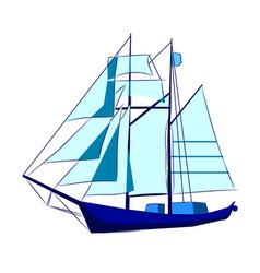 the tall blue sail ship vector image