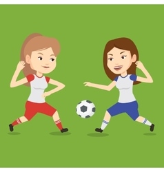 Two female soccer players fighting for ball vector