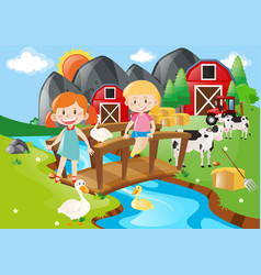 Two girls and animals by the river vector