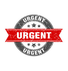 Urgent round stamp with red ribbon urgent vector