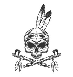 Vintage monochrome skull with indian feathers vector