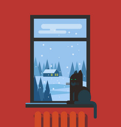window with cat and view of the landscape vector image