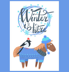 winter is here promo poster vector image