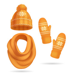 winter yellow knitted clothes set vector image
