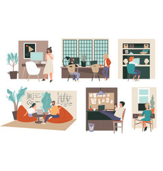 working space at office or home people at work vector image