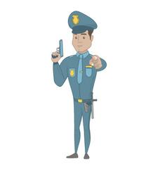 Young hispanic policeman holding a handgun vector
