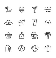 beach summer icons set on white background vector image