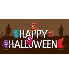 Monsters With Halloween Alphabets vector image