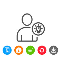 user line icon profile with lamp bulb sign vector image