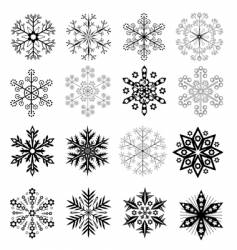 black and white snowflakes set vector image