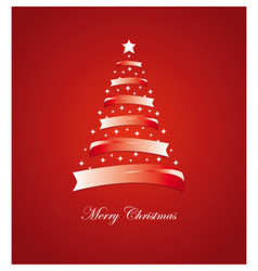 Christmas card with stylized white and red tree vector image