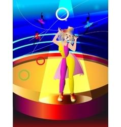 Circus clowning the woman vector image