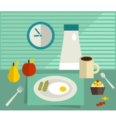 Food and drink on the table vector image