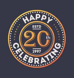 happy 20th years anniversary celebration sticker vector image