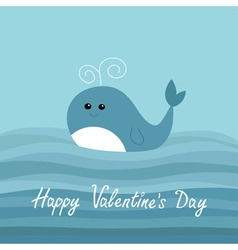 Happy Valentines Day Love card Cartoon whale in vector image