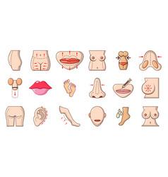 human body icon set cartoon style vector image