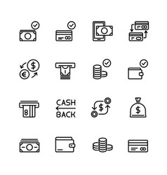 simple set of money and financial line vector image