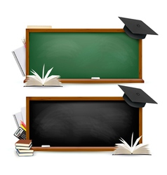 Two banners of chalkboards with school supplies vector image