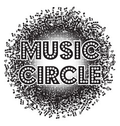 abstract round monochrome background with music vector image vector image