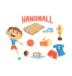 boy handball player kids future dream vector image