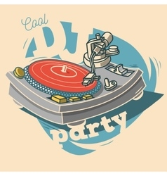 Dj cool party funny poster design with vinyl vector